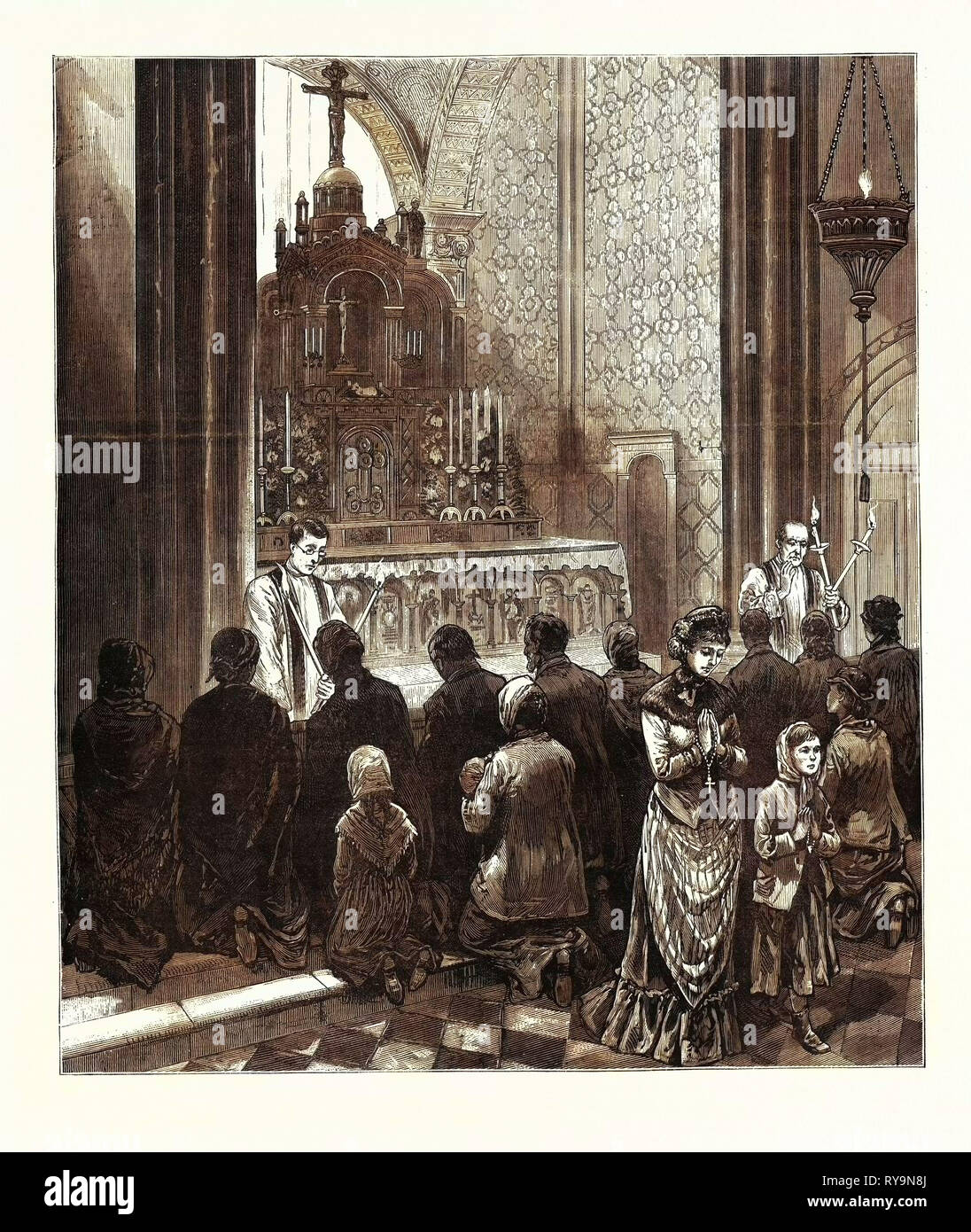 New York: Catholic Worshipers Imploring the Intercession of St. Blaise against Diphtheria and Other Diseases, in St. Alphonsus' Church. U.S., Engraving 1880 1881 - Stock Image