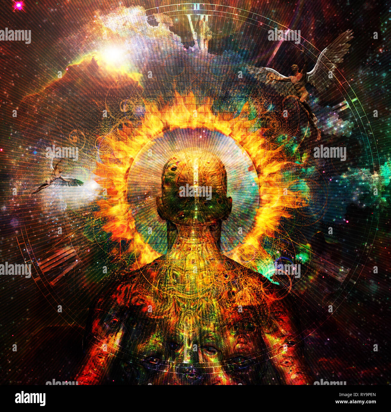 Spiritual composition with angels and ring of fire. The way to another world - Stock Image