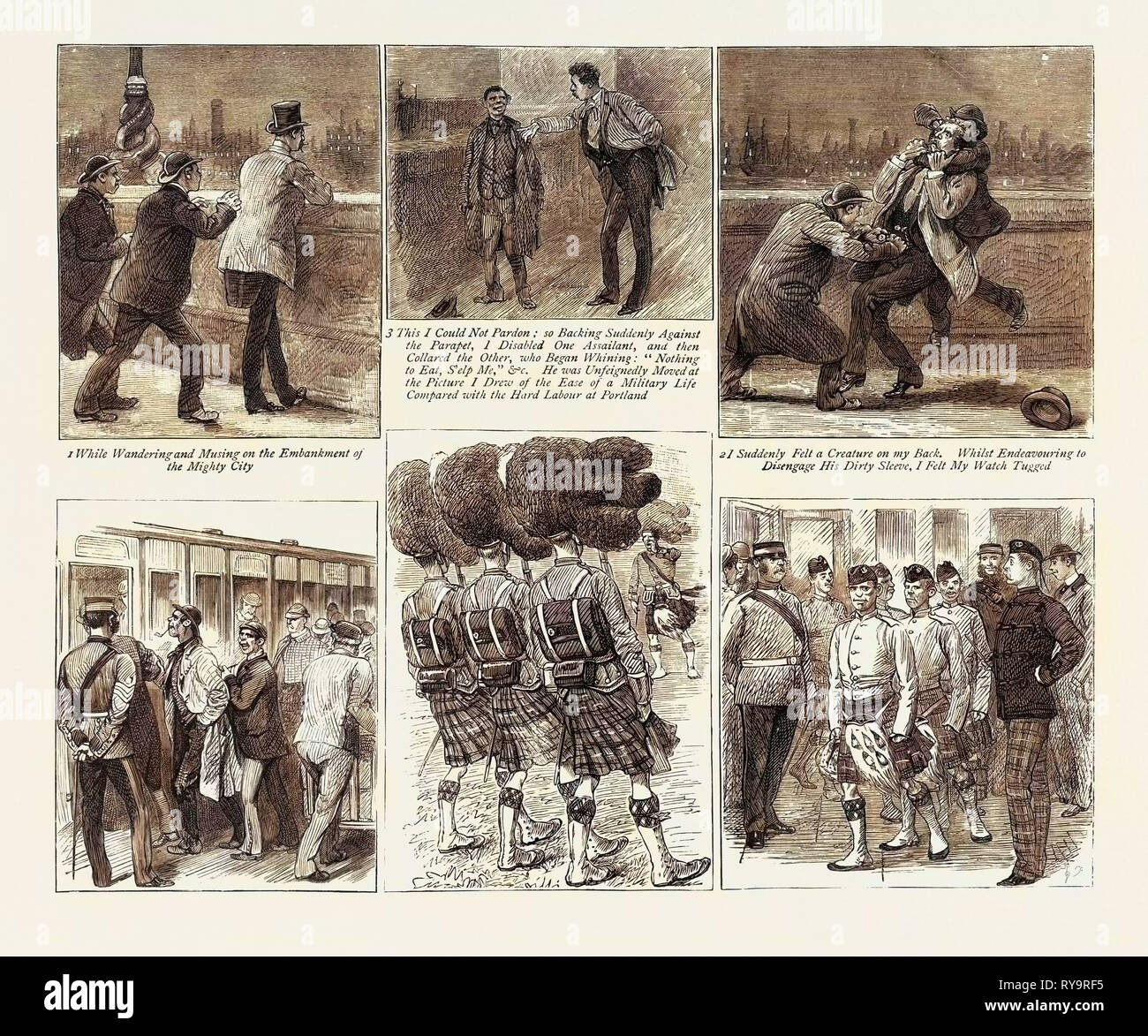 How Highland Regiments Should Not Be Recruited, Engraving 1884 - Stock Image