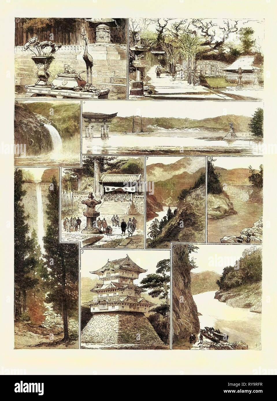 Places in Japan, I. Iyeyasu's Tomb, Nikko. 2. Itsukusima  the Temples  3. Waterfall at Toji-No-Ki, Near Kumamoto 4. Itsukusima  the Torii  5. Waterfall at Nachi, Kishu  6. Festival at Nikko 7. Ten-Riu River at Nishi-No-to  8. Ota Bridge, Ten-Riu-Gowa 9. Nagoya Castle, Ten-Riu-Gowa, from below Ota, Engraving 1884 Stock Photo