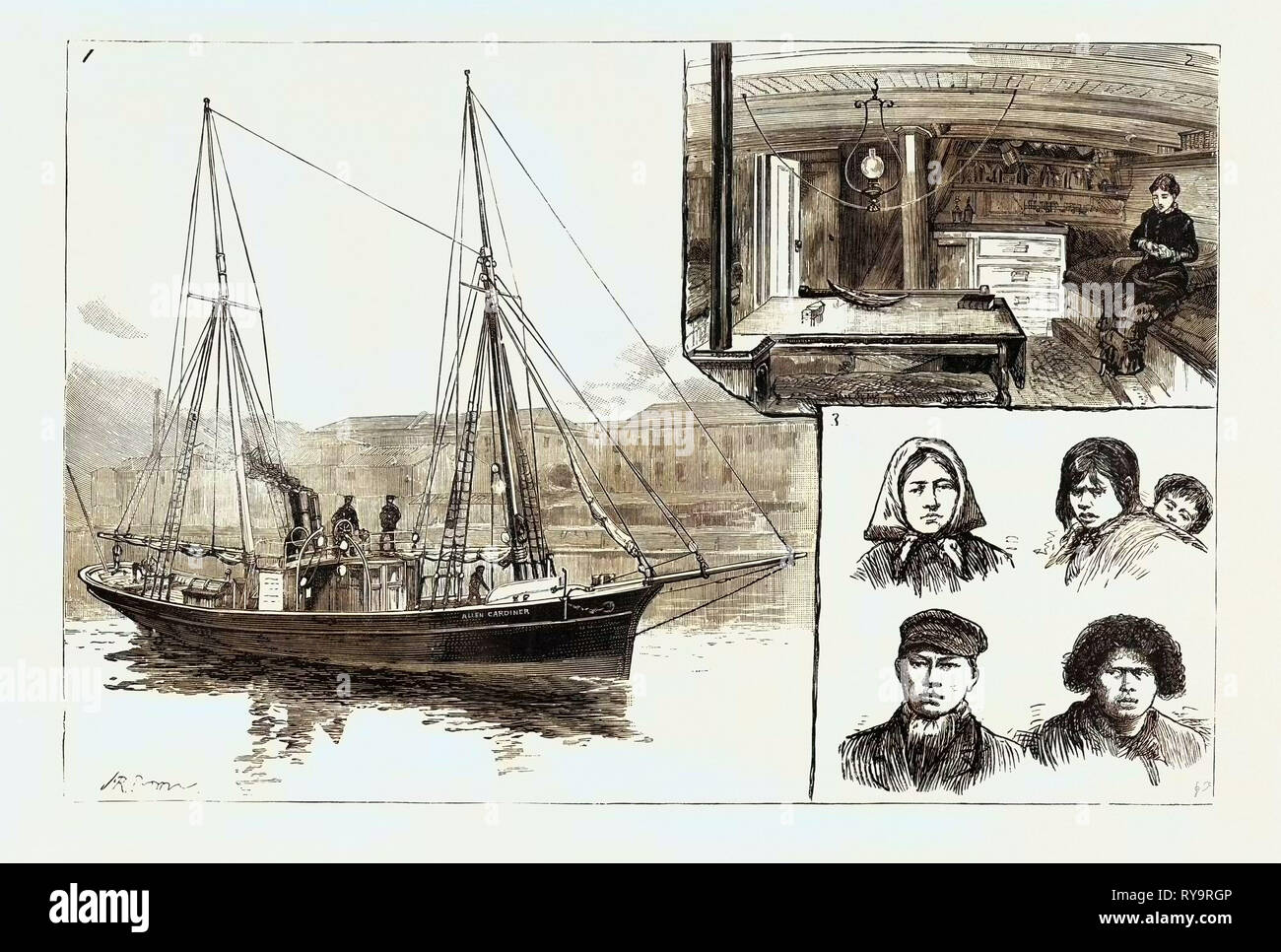 The Mission Ship of the South American Missionary Society, I. The Allen Gardiner 2. The Cabin 3. Natives of Tierra Del Fuego Civilised and Uncivilised, Engraving 1884 - Stock Image