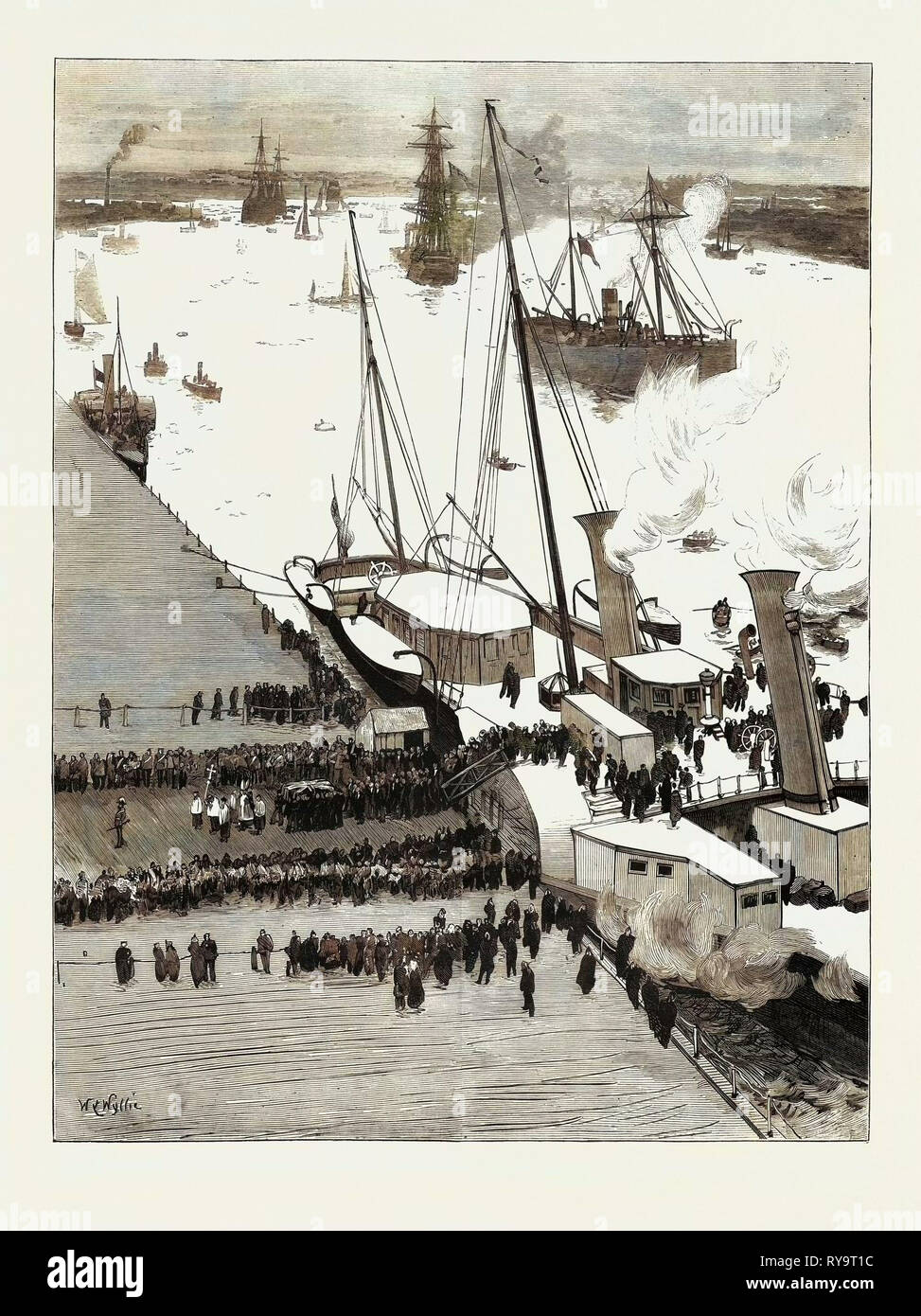 Funeral of the Late Prince Louis Napoleon Debarkation of the Body at Woolwich, Engraving 1879 Stock Photo