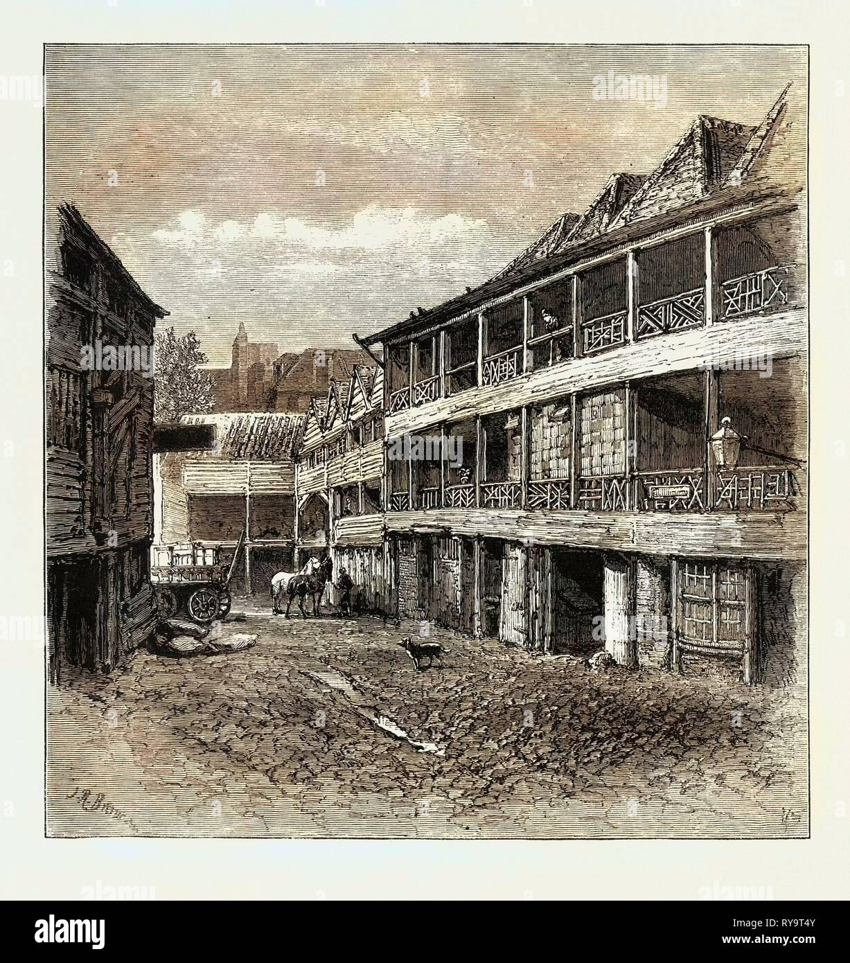The Old  King's Head  in the Borough Now in Course of Partial Reconstruction, London, UK, Britain, British, Europe, United Kingdom, Great Britain, European, Engraving 1879 - Stock Image