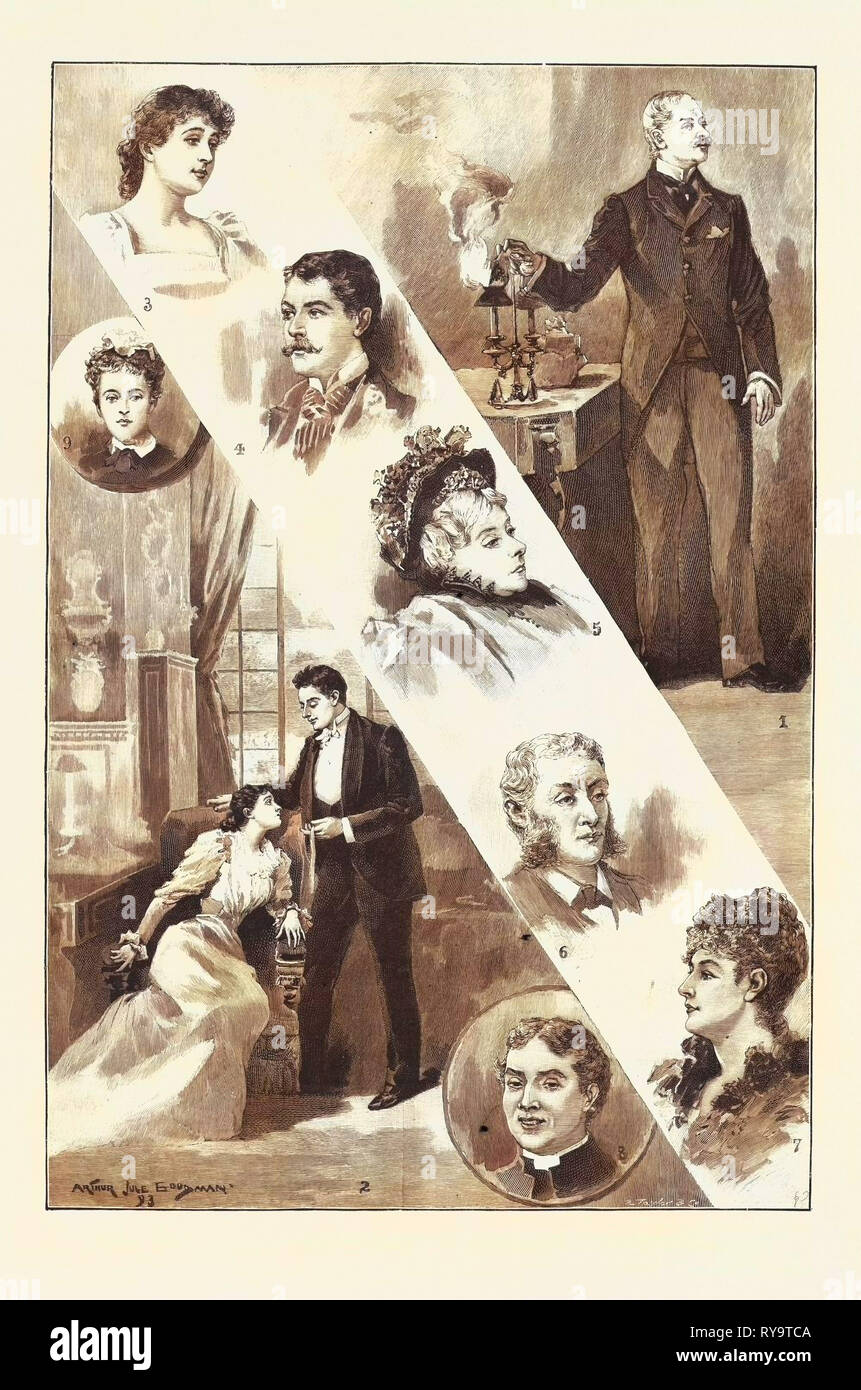 Robin Goodfellow, the New Play at the Garrick Theatre: 1. Valentine Barbrook (Mr. John Hare): 'There, and You Will Be Silent Then.' 2. Grace Barbrook (Miss K. Rorke) and Hugh Rokeby (Mr. J. Forbes Robertson): 'May I Keep This Ribbon that You Have Worn?' 3. Constance Barbrook (Miss Norreys). 4. Stanley Trevenen (Mr. Sydney Brough). 5. Mrs. Barbrook, the Grandmother (Mrs. Edmund Phelps). 6. Dr. Milner (Mr. Gilbert Hare). 7. Mrs. Bute Curzon (Miss Compton). 8. The Rev. Borthwick Soundy (Mr. D. Robertson). 9. Emma, the Parlour-Maid, Miss Helen Luck - Stock Image
