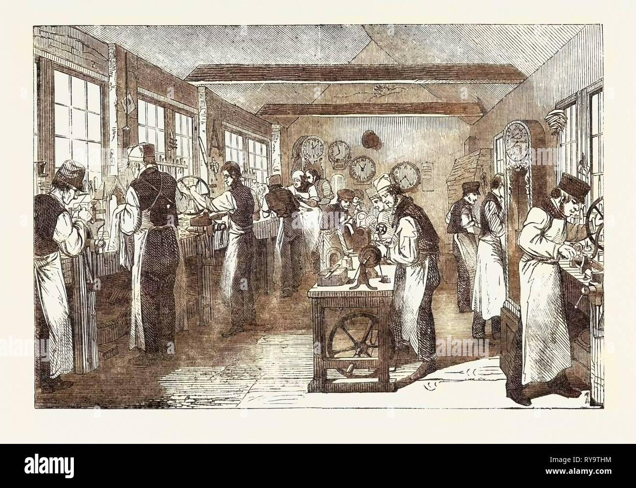 Clerkenwell Clock Factory: The Regulator and General Clock Shop, UK - Stock Image