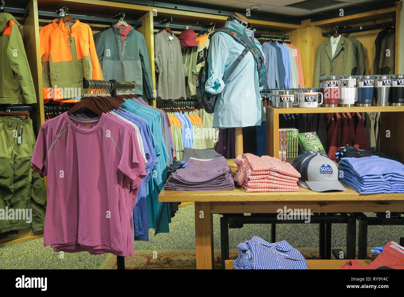 405869137 Orvis Fifth Avenue Store Interior, New York City, USA - Stock Image