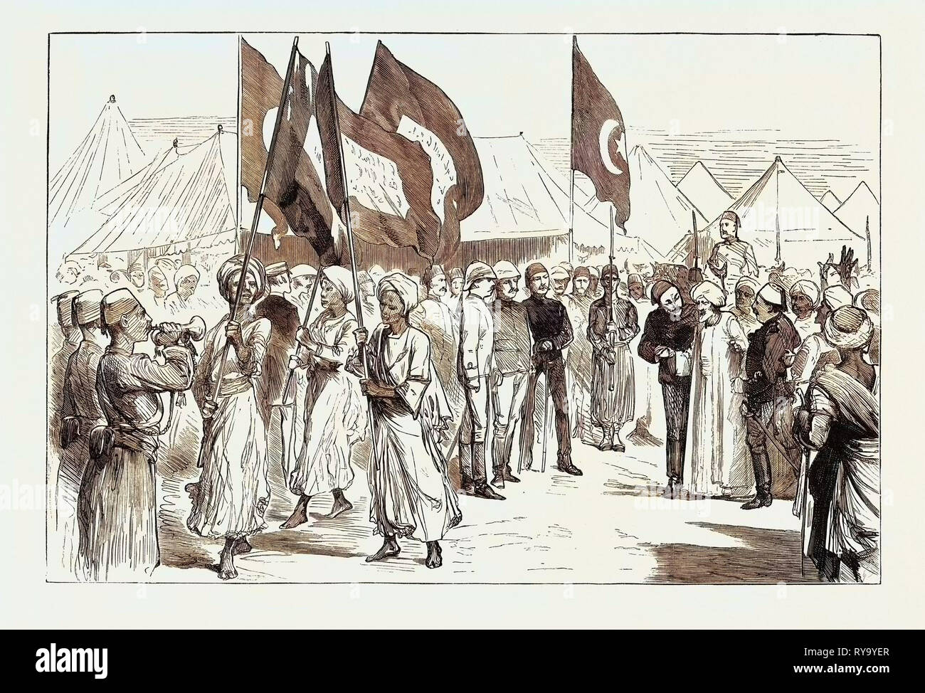The Rebellion in the Soudan (Sudan): The Negotiations with the Tribes Visit of Sheik Syed Mahomed El Mhargani to General Sartofius at Suakim Stock Photo