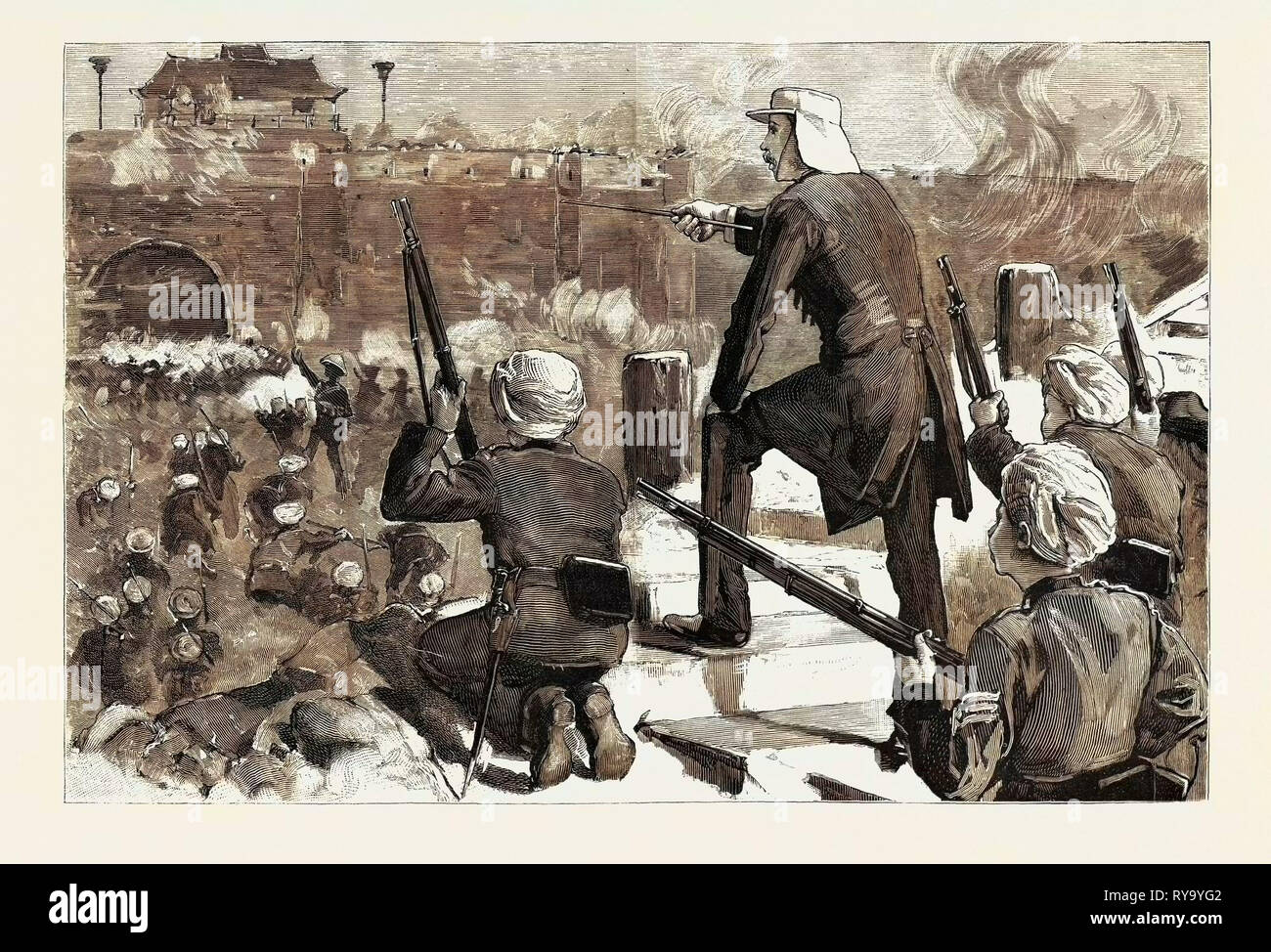 Gordon in China November 1863 Storming Soochow Gordon Determined on a Vigorous Assault on the North-East Angle of the Soochow Wall - Stock Image