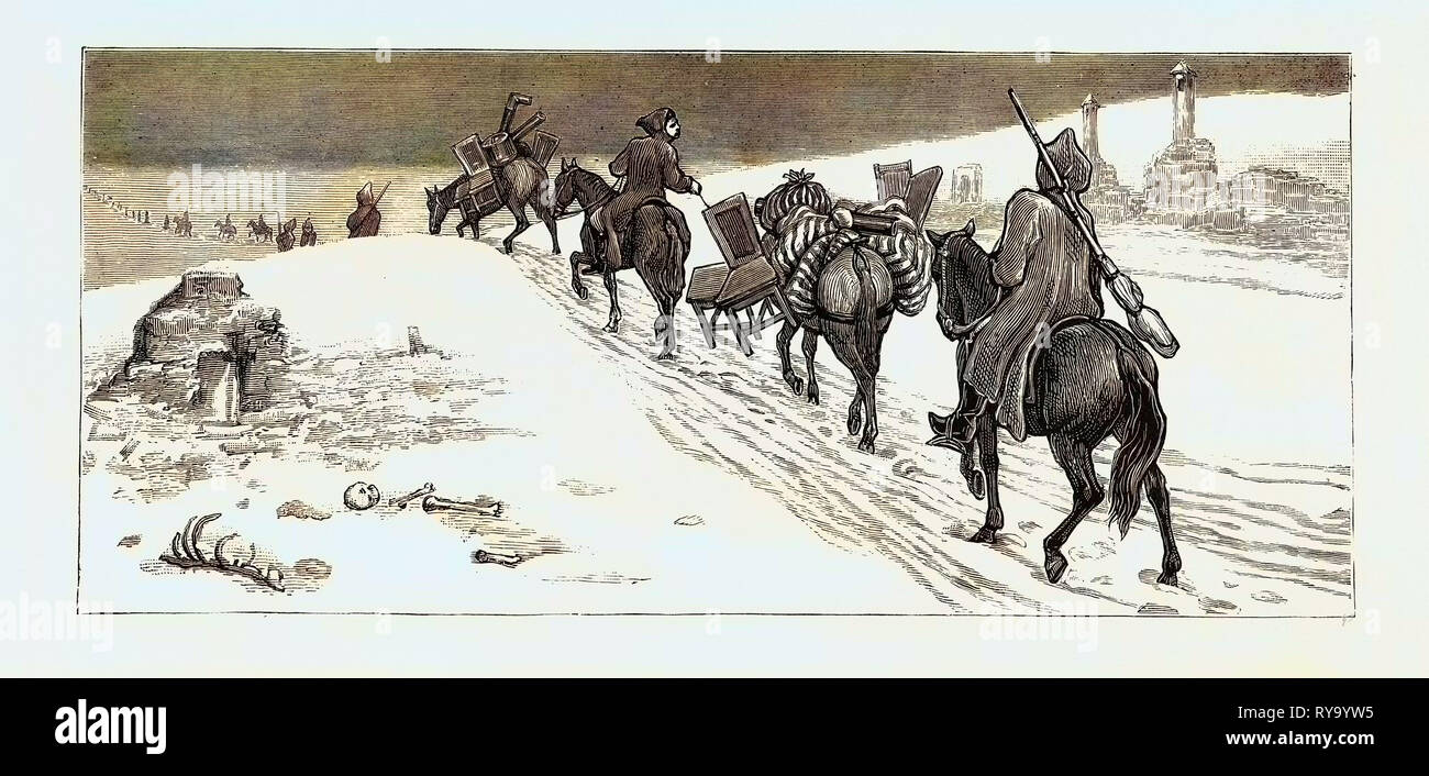 The Eastern Question, with the Turks: A Journey from Alexinatz to the Servian Camp: Loot from Alexinatz: Bashi-Bazouks Returning Home - Stock Image