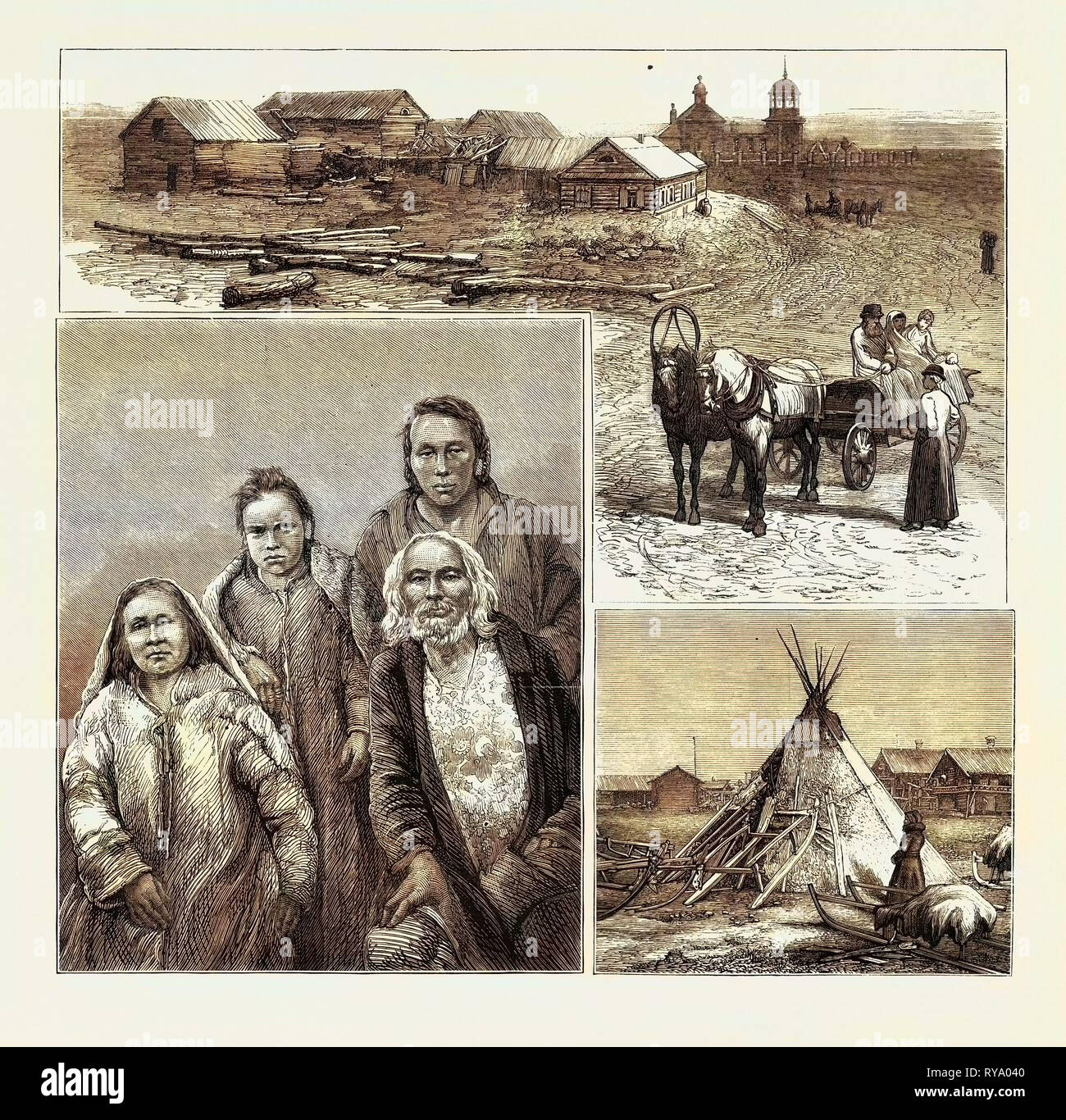 To Siberia by Sea, Captain Wiggins' Expedition: Town of Obdorsk on the Lower Obi, East Siberia, the King Patchka of the Samoiedes on the Obi and Three Natives, Tent and Sledges of the Expedition - Stock Image