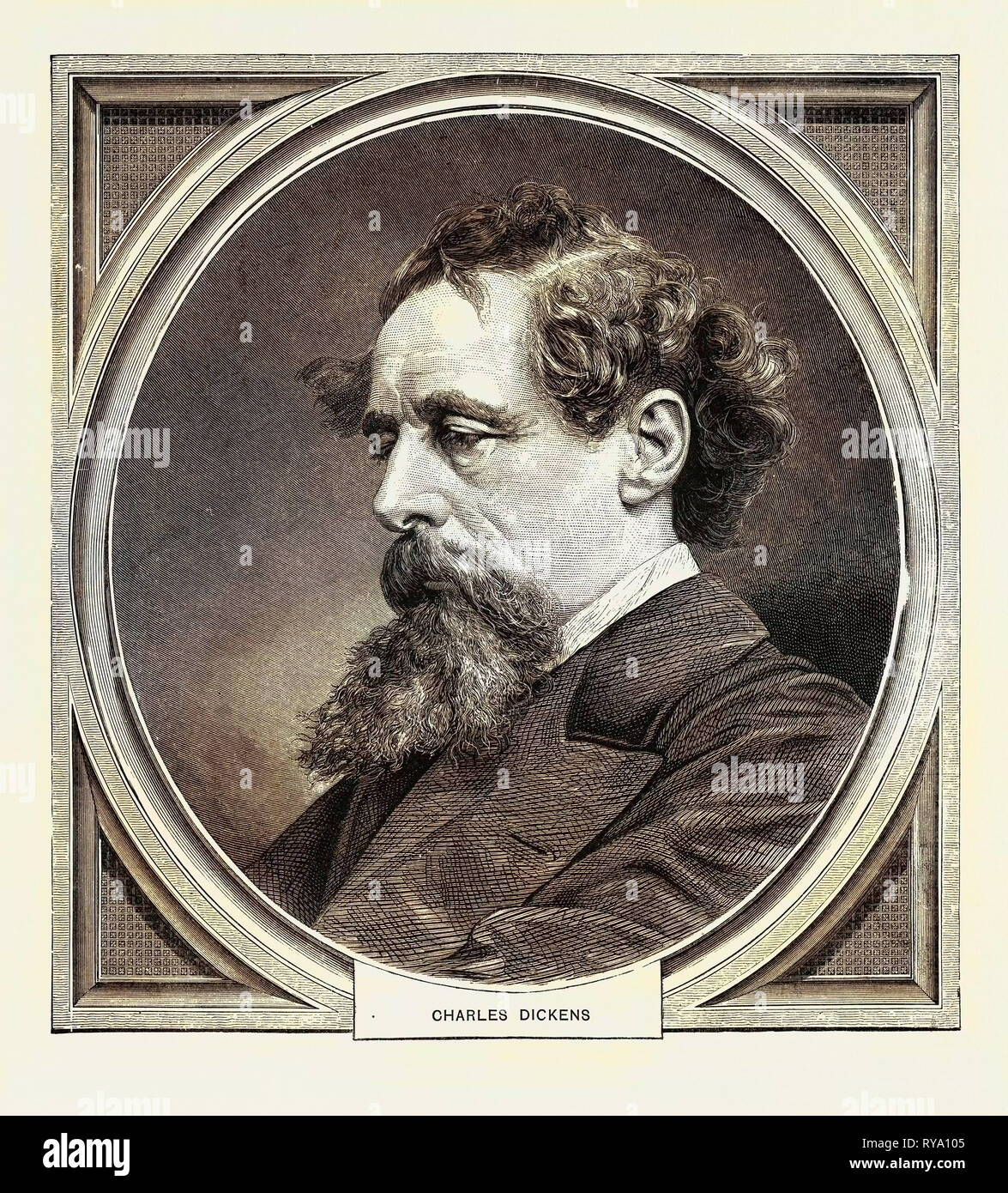 Charles Dickens, Born at Portsmouth, 7 February, 1812, Died at Gad's Hill, Kent, 9 June, 1870 Stock Photo