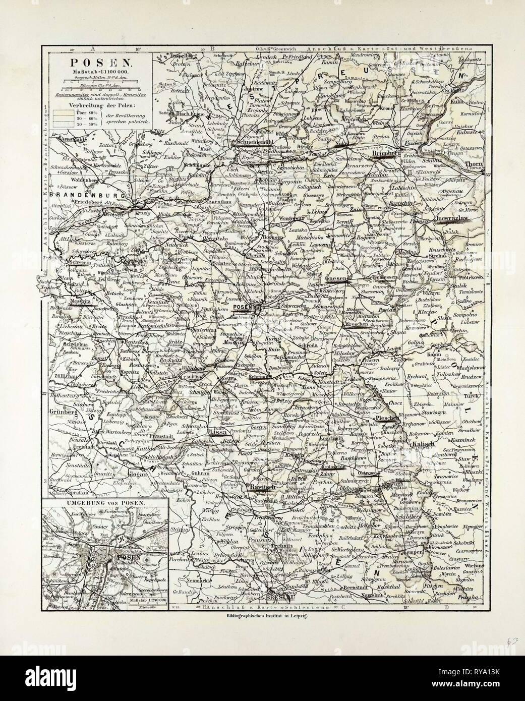 Map of Posen (Poznan) Poland 1899 Stock Photo