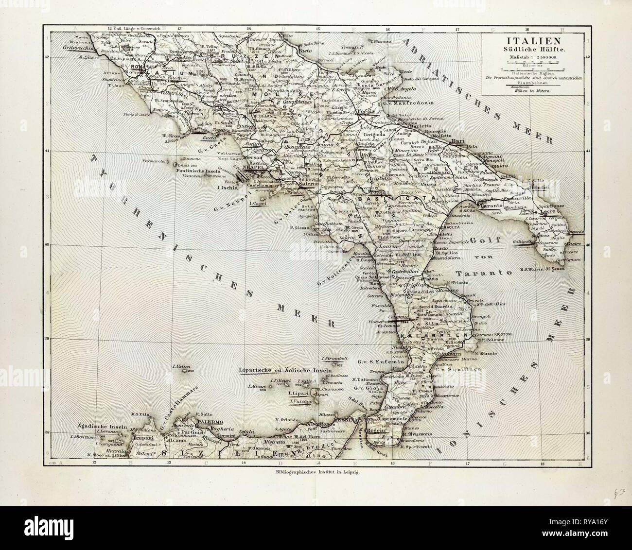 Map Of South Italy.Map Of South Italy 1899 Stock Photo 240550995 Alamy