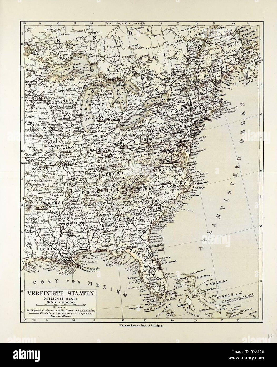 Map of the Eastern Part of the United States of America 1899 ...