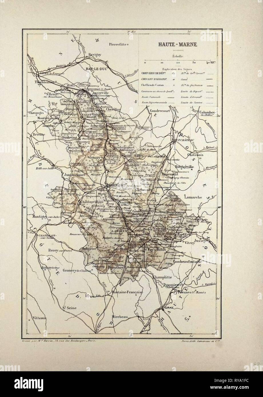 Saone haute- 1878 Old Antique Vintage Map Plan Chart Haute-saÔne