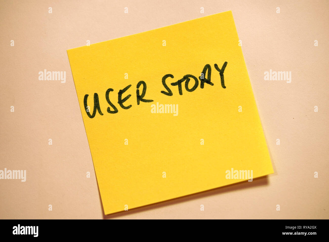 Yellow Sticky Note Scrum Agile User Story - Stock Image