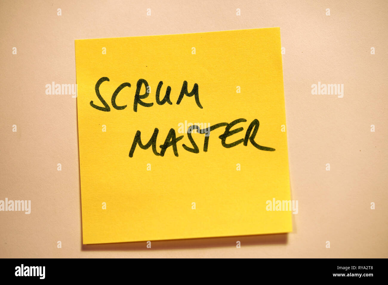 Yellow Sticky Note Scrum Agile Scrum Master - Stock Image