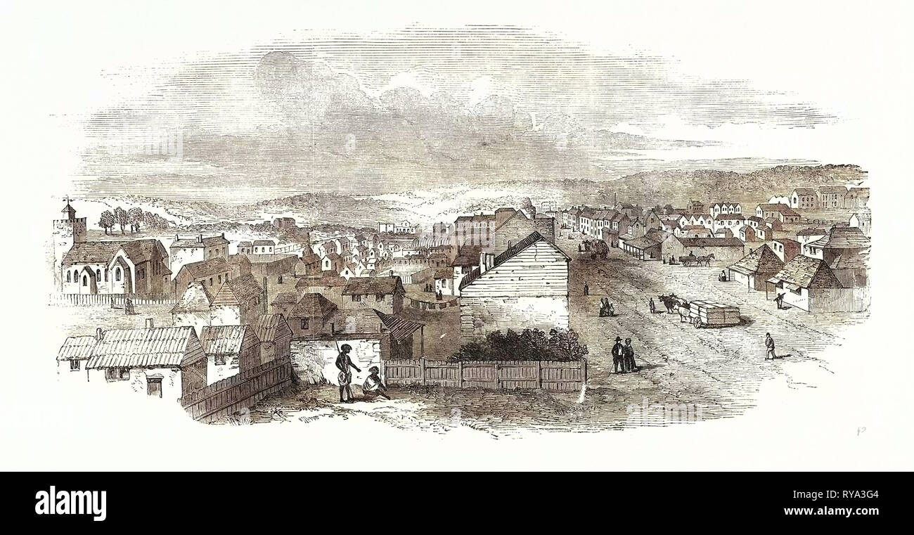 Adelaide, South Australia, from Hindley Street, 1850 - Stock Image