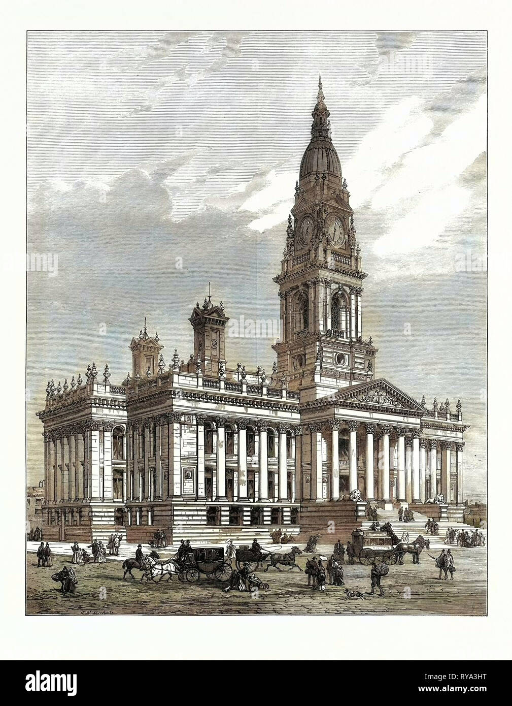 The New Townhall of Bolton, Lancashire, Opened by the Prince of Wales, UK, 1873 - Stock Image