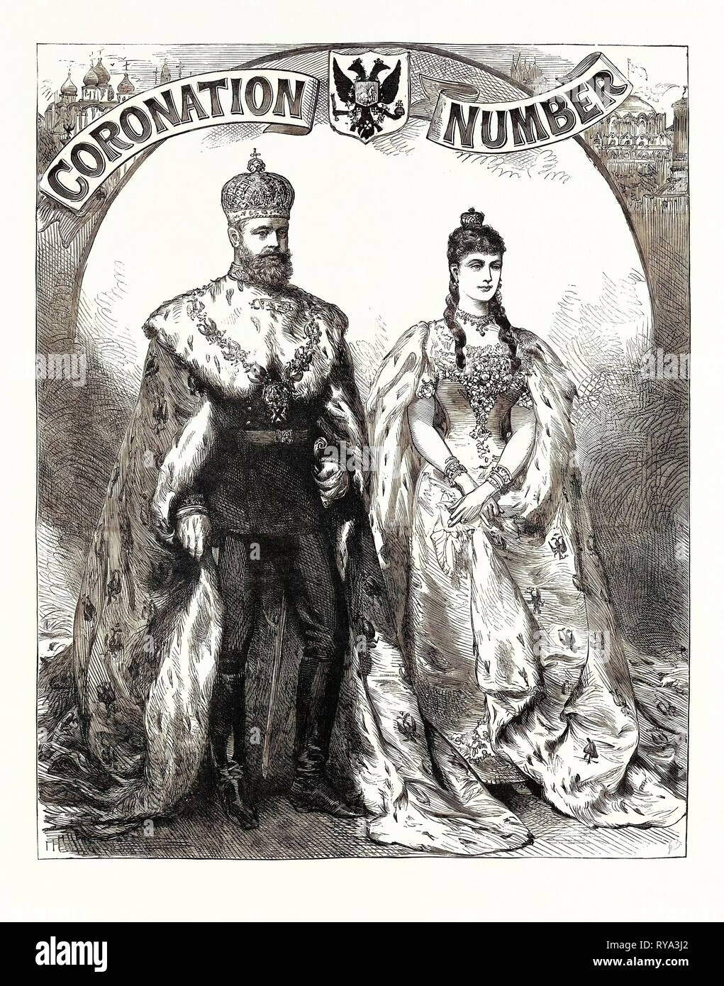 The Emperor and Empress of Russia in Their Coronation Robes, 1883 - Stock Image