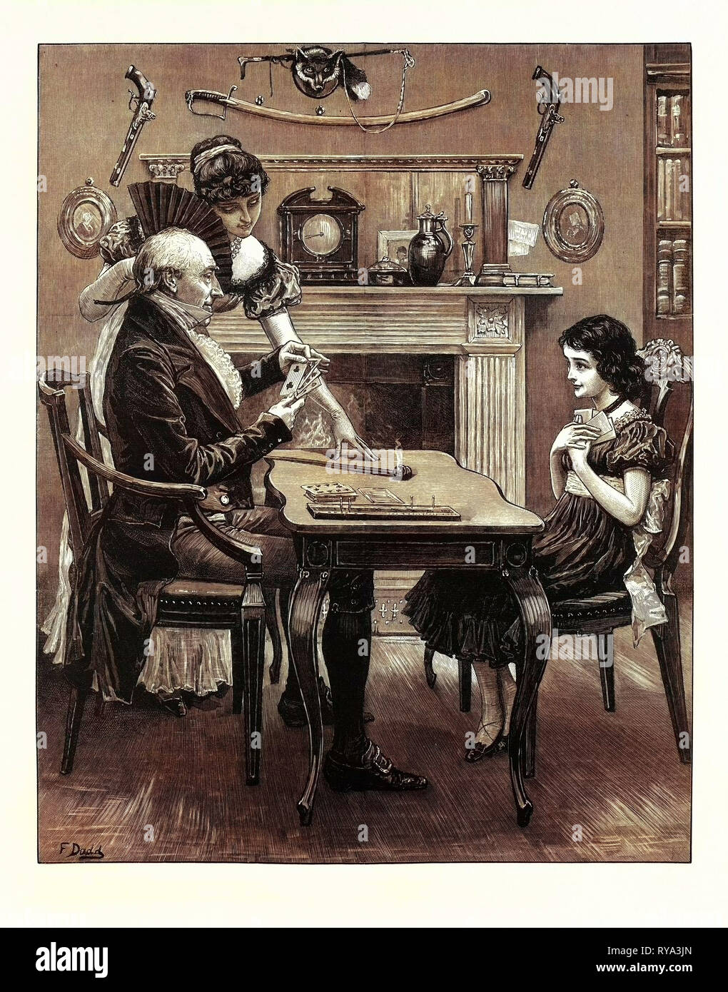 A Game at Cribbage, 1883 - Stock Image