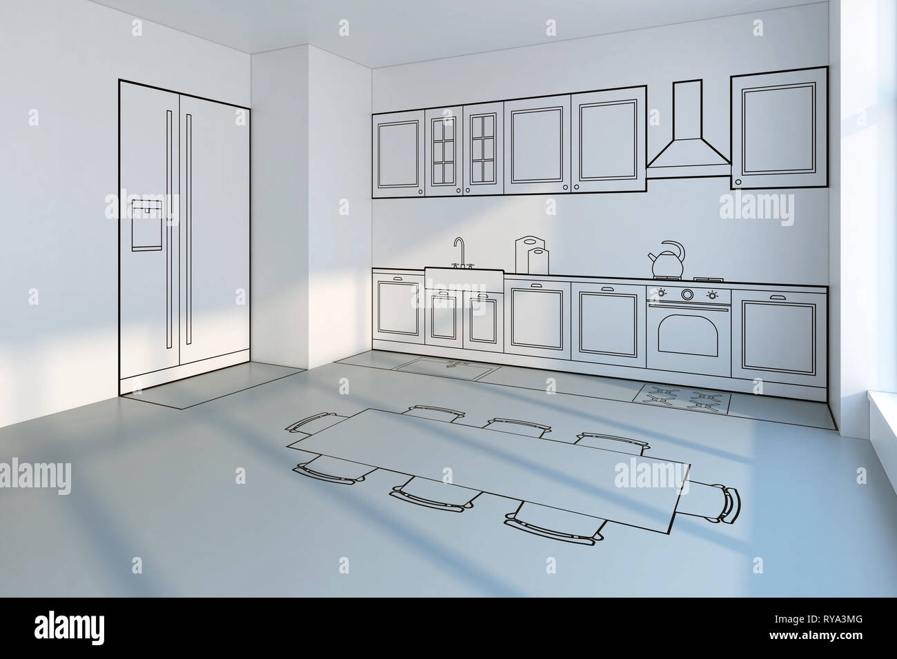 Strange Kitchen Planning Design Concept 3D Rendering Stock Photo Interior Design Ideas Philsoteloinfo