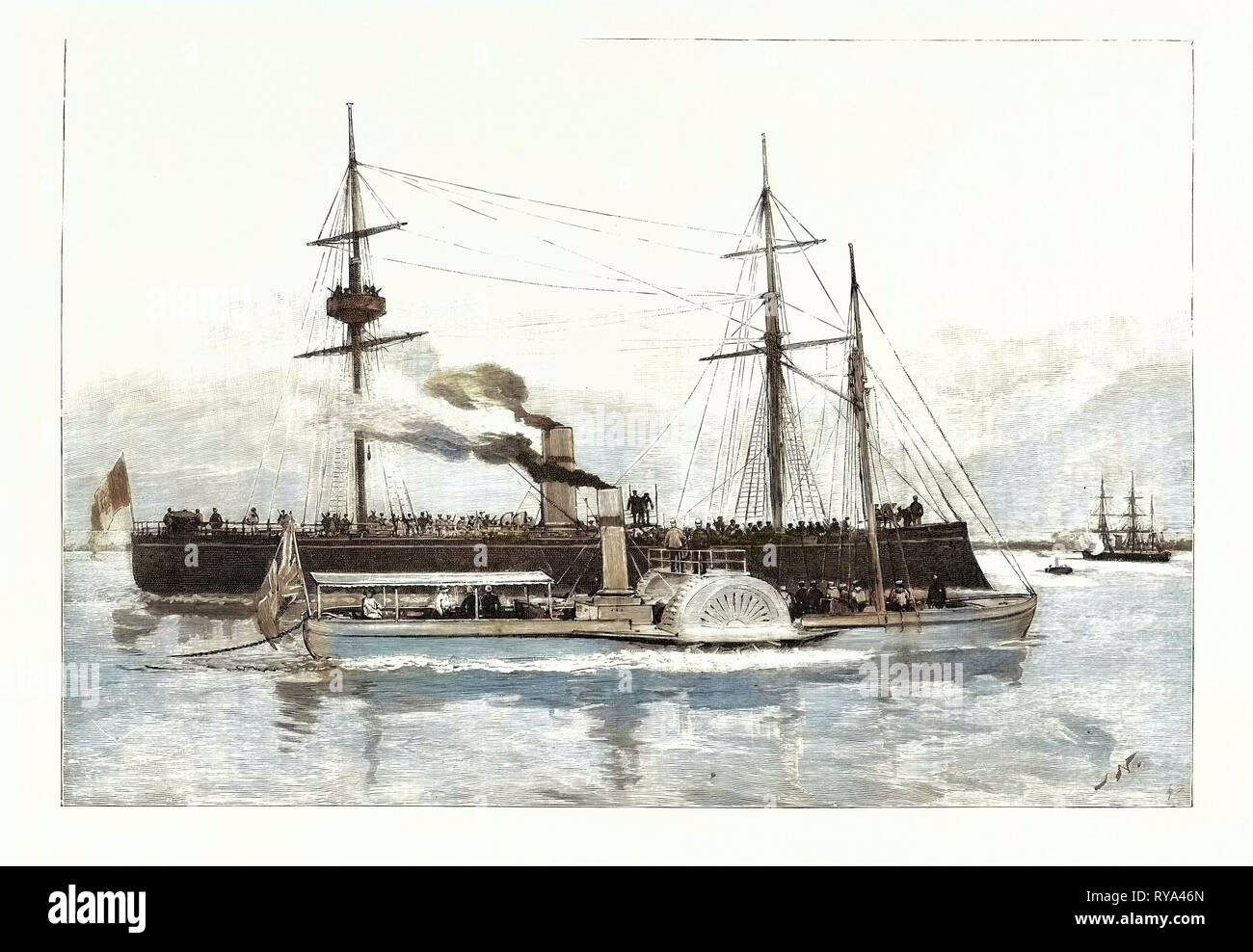 The Portuguese Attack on the British at Beira East Africa: One Minute after the Tamega Fired the First Shot the Limpopo Full of Armed Men Has Been Run Up Alongside the Agnes and is Threatening Her with a Quick-Firing Shell-Gun on Her Bow - Stock Image
