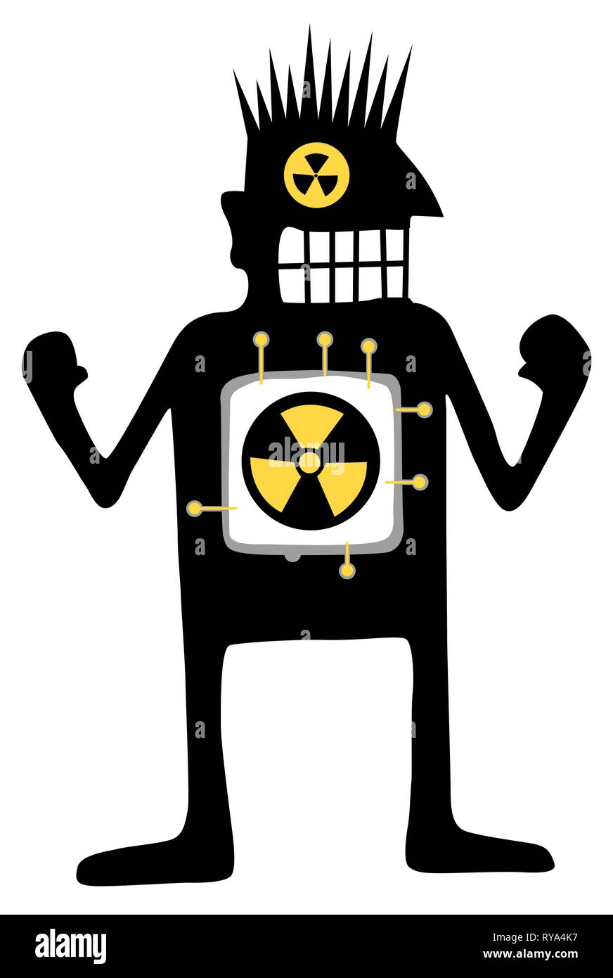 Nuclear powered cartoon character black silhouette, vector illustration, vertical, isolated, over white - Stock Vector