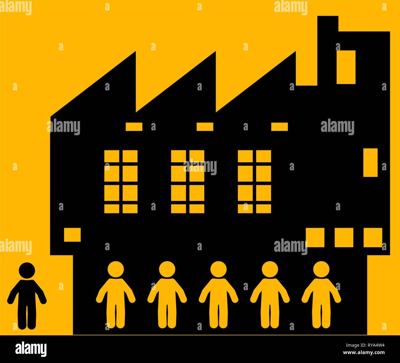 Factory workers people figures, vector illustration color cartoon, horizontal - Stock Vector