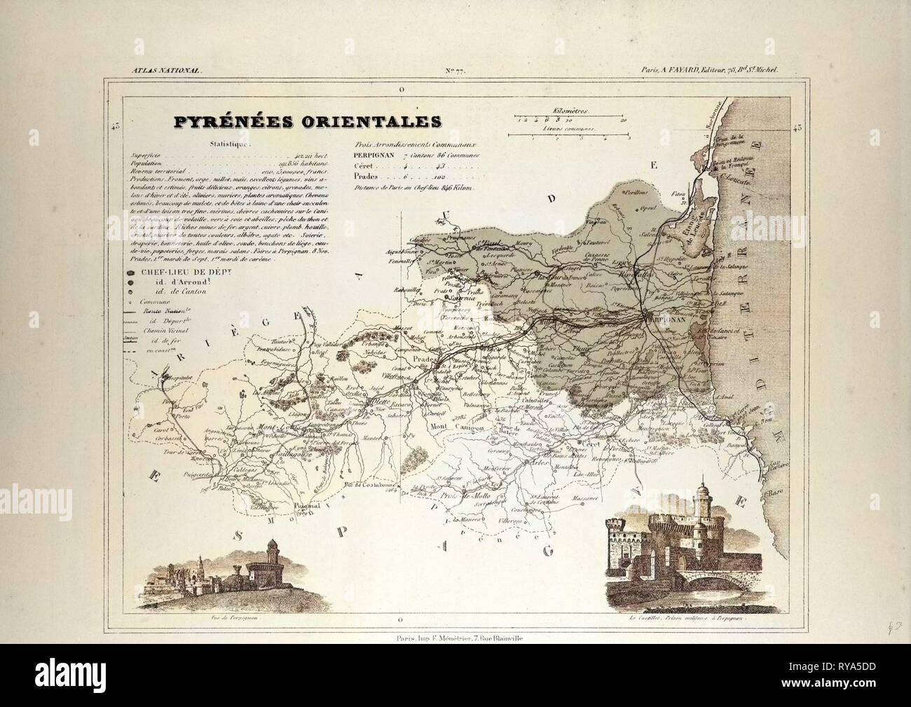 PyrÉnÉes-orientales Art Prints Pyrenees-orientales 1878 Old Antique Map Plan Chart