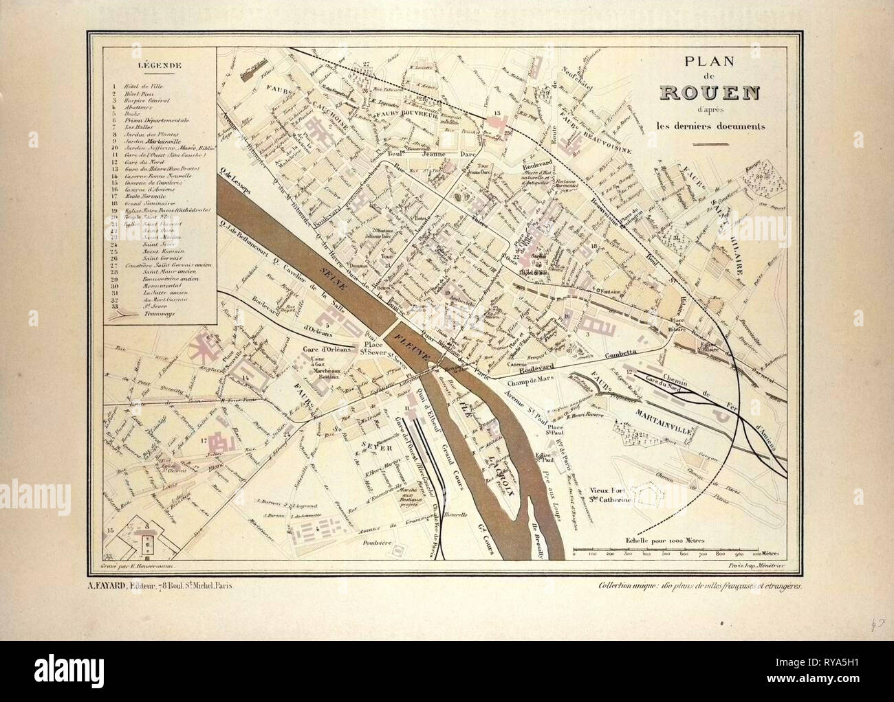 Map Of France Rouen.Map Of Rouen France Stock Photo 240554413 Alamy