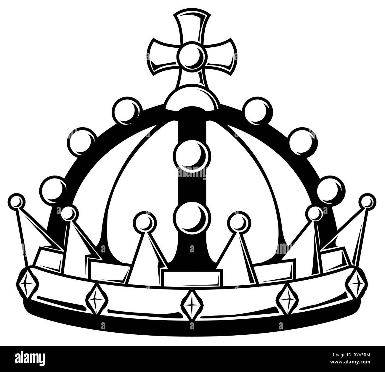 Royal crown stencil black, vector illustration, horizontal, isolated - Stock Vector