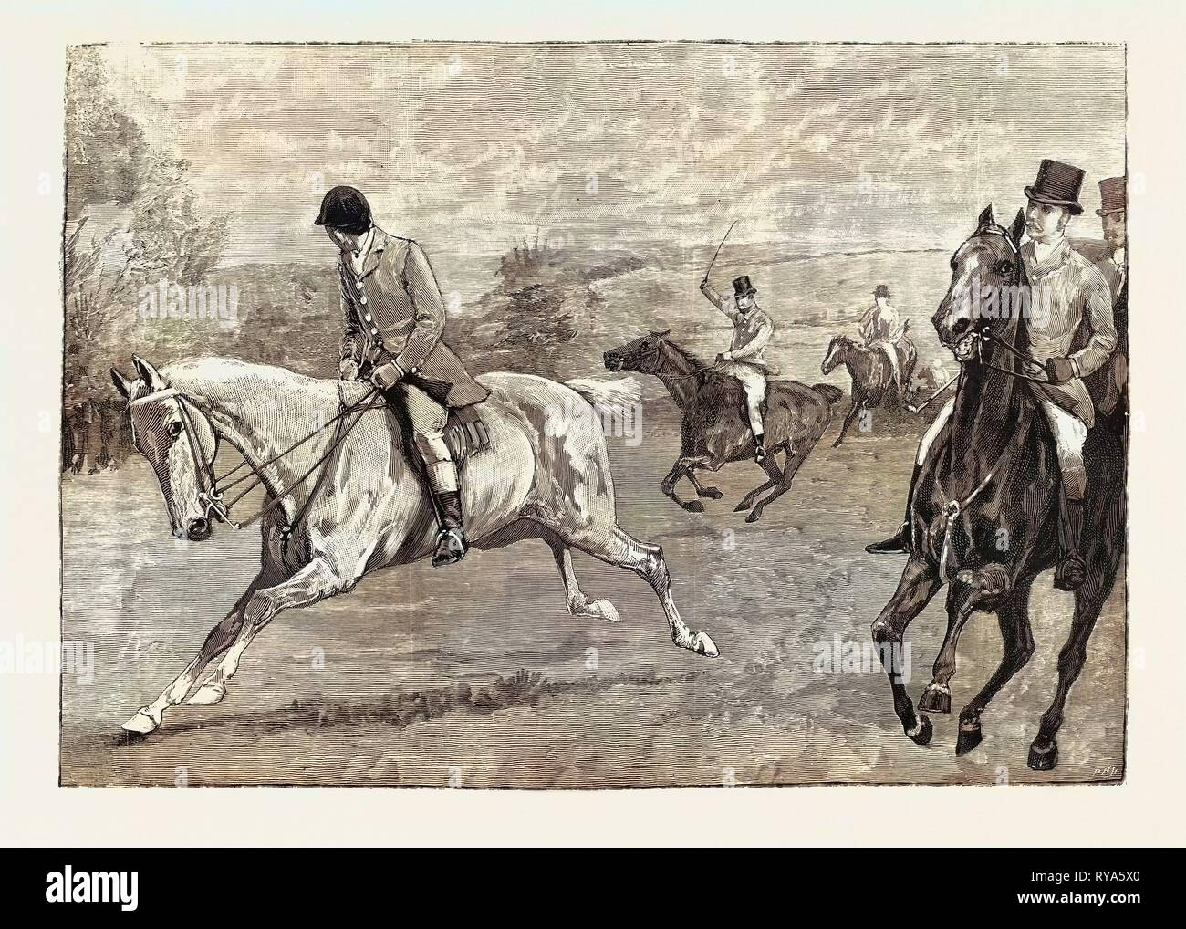House of Commons Point-to-Point Steeplechase Near Daventry: Mr. A.E. Pease Winning on Nora Creina Stock Photo