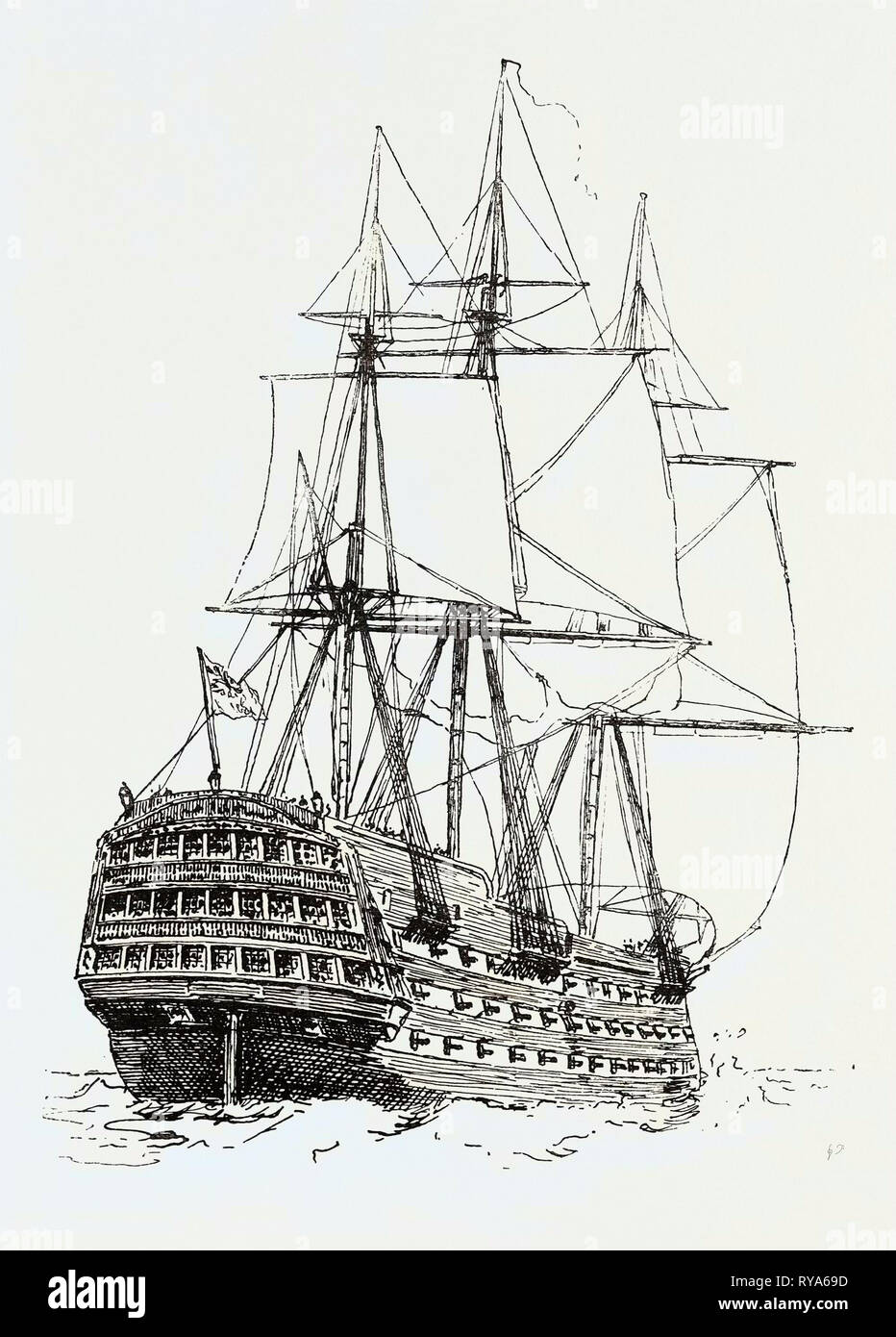 Model of the Victory Nelson's Ship at Trafalgar - Stock Image