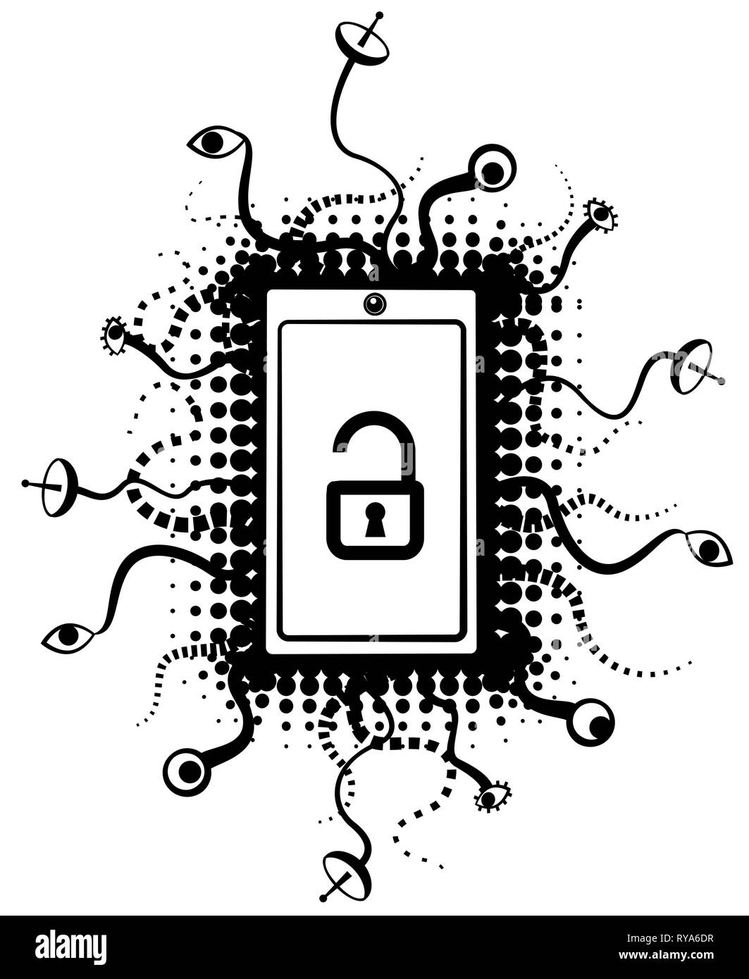 Smart phone surveillance abstract symbol stencil black design, vector illustration, vertical, over white, isolated - Stock Vector