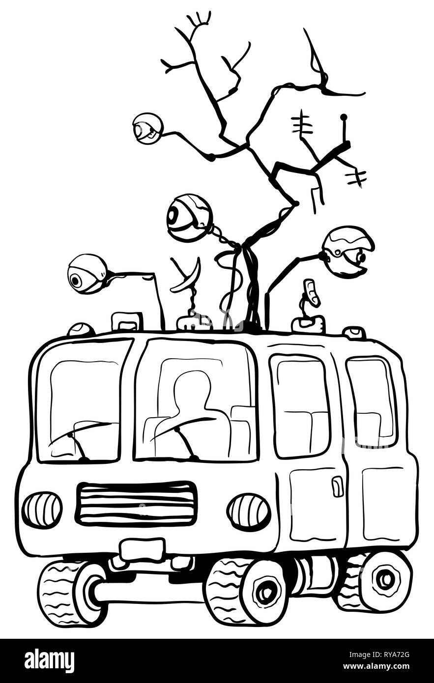 Surveillance equipment antenna van line cartoon drawing, black and white, vector illustration, vertical, isolated - Stock Image