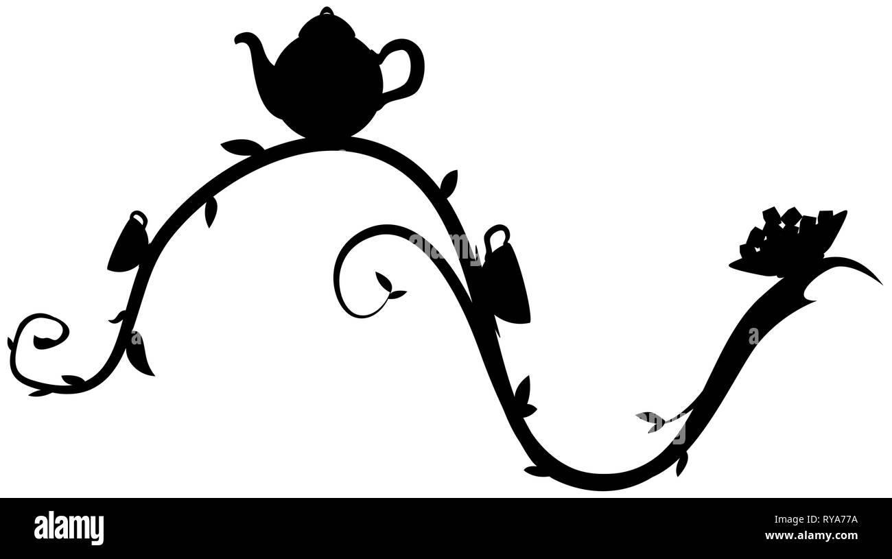 Tea branch decorative black design element, vector illustration, horizontal, isolated - Stock Vector