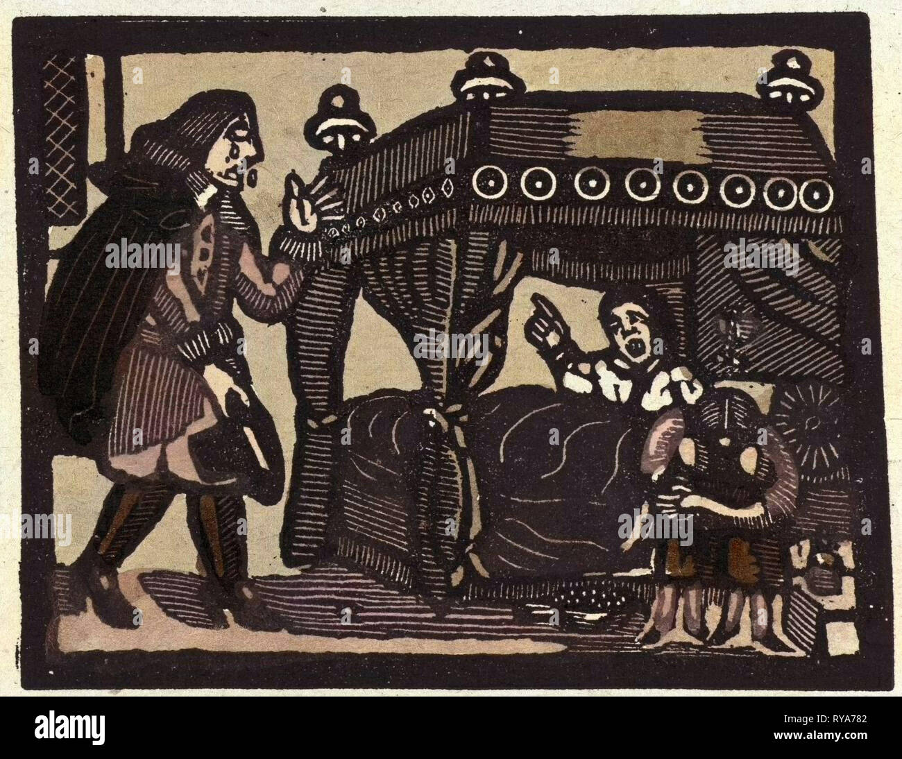 Illustration of English Tales Folk Tales and Ballads. A Man in Tears Being Addressed by a Woman from a Canopied Bed Stock Photo