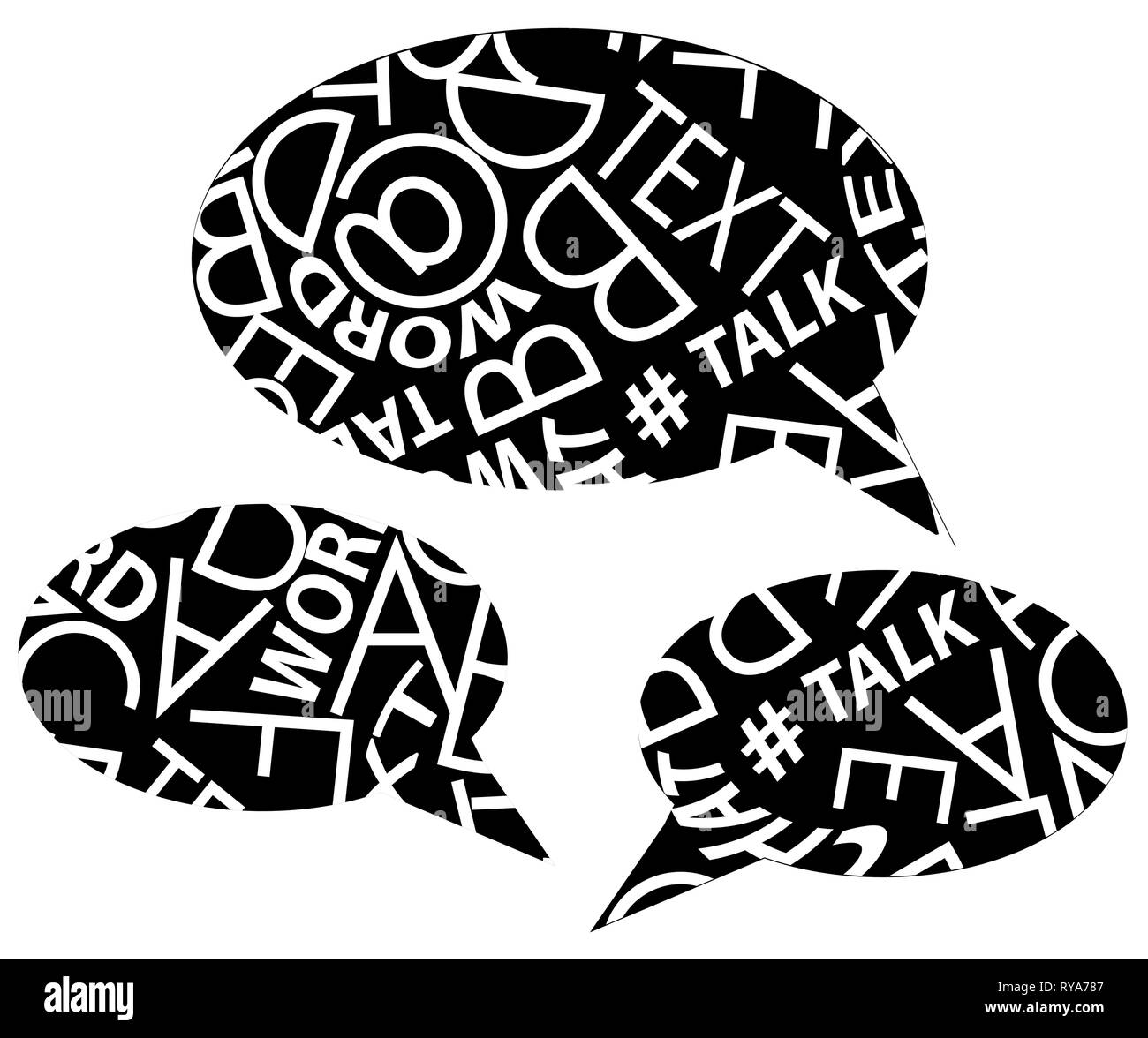Speech bubbles full of random text pattern, vector illustration set black and white, horizontal, isolated - Stock Image