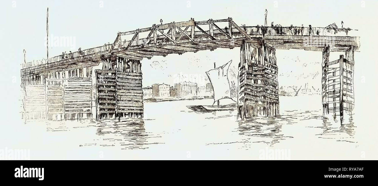 Old Battersea Bridge, from an Etching by J.A. Mcn. Whistler. London, UK, Britain, British, Europe, United Kingdom, Great Britain, European - Stock Image