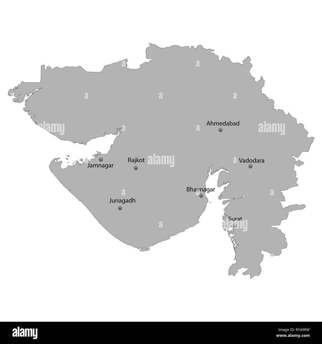 High Quality map of Gujarat is a state of India, With main cities location - Stock Vector