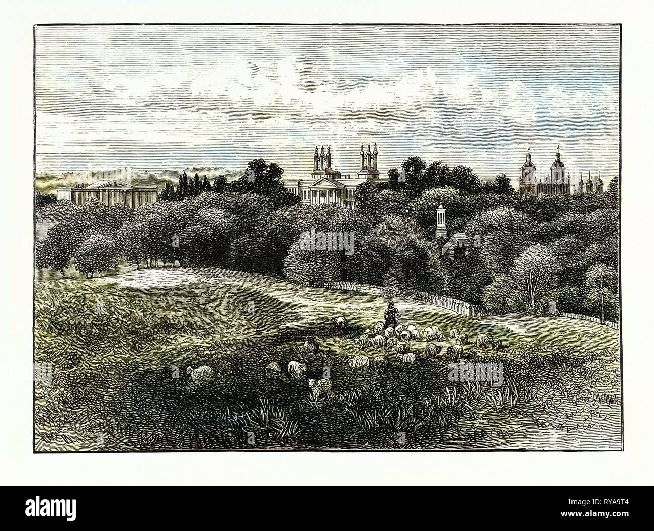 Edinburgh: Watson's Orphans' and Stewart's Hospitals from Drumsheugh Grounds 1859 - Stock Image