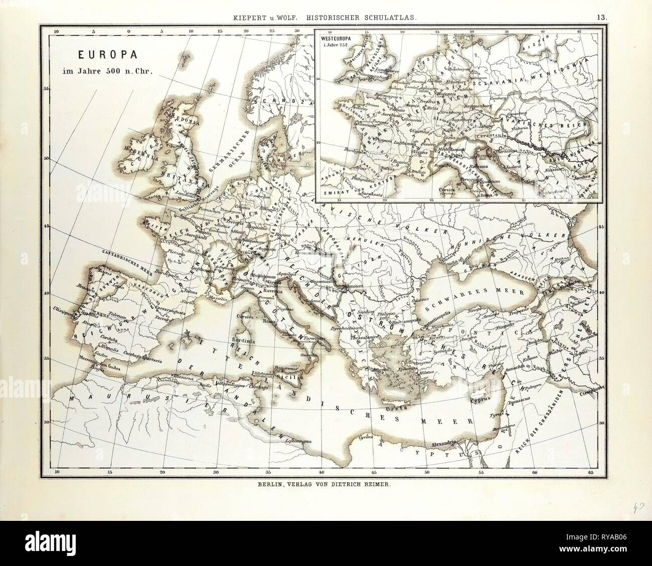 Map Of Europe In 500 A D Stock Photo Alamy