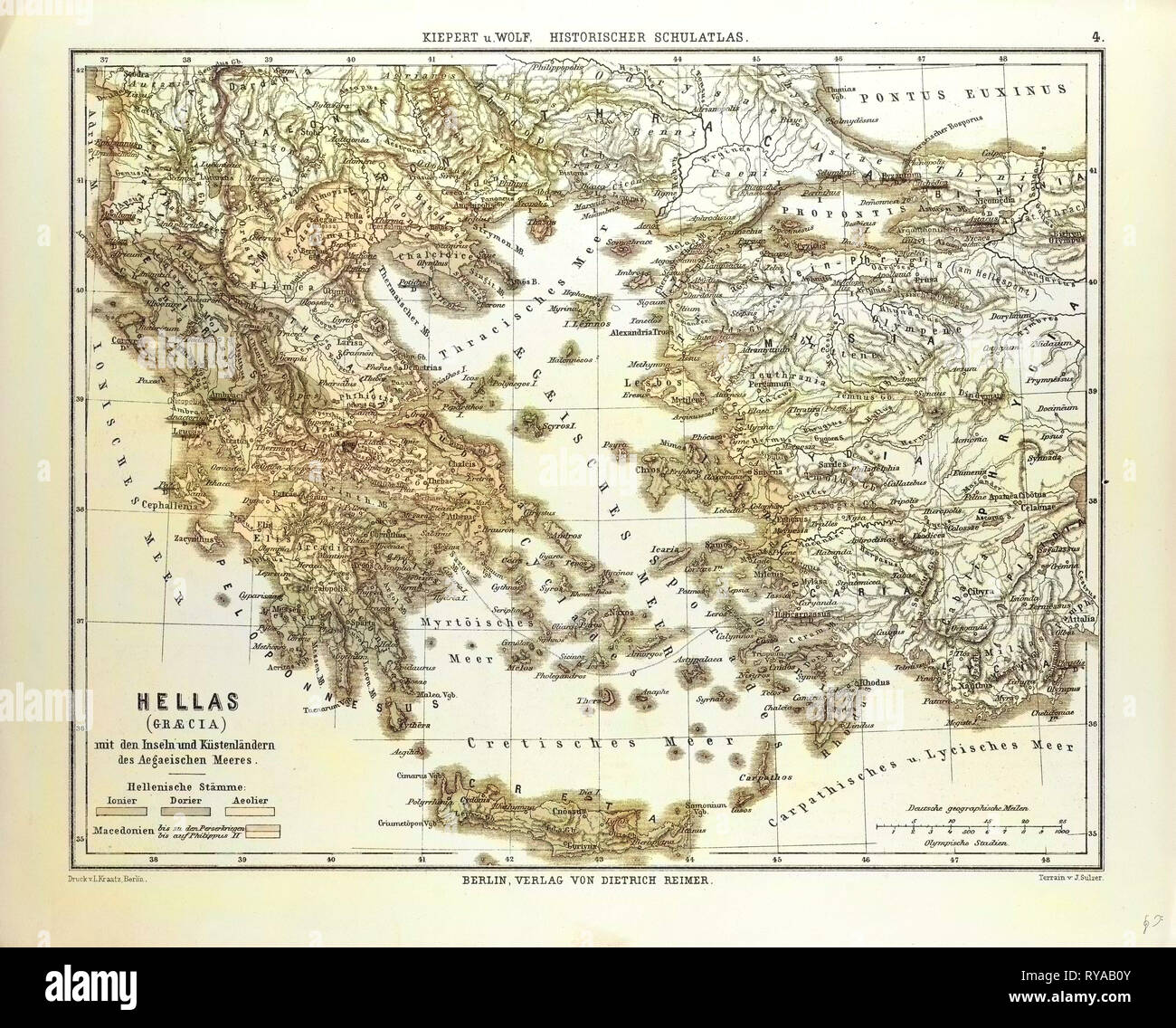 Old Map Of Greece And Crete Stock Photo 240558667 Alamy
