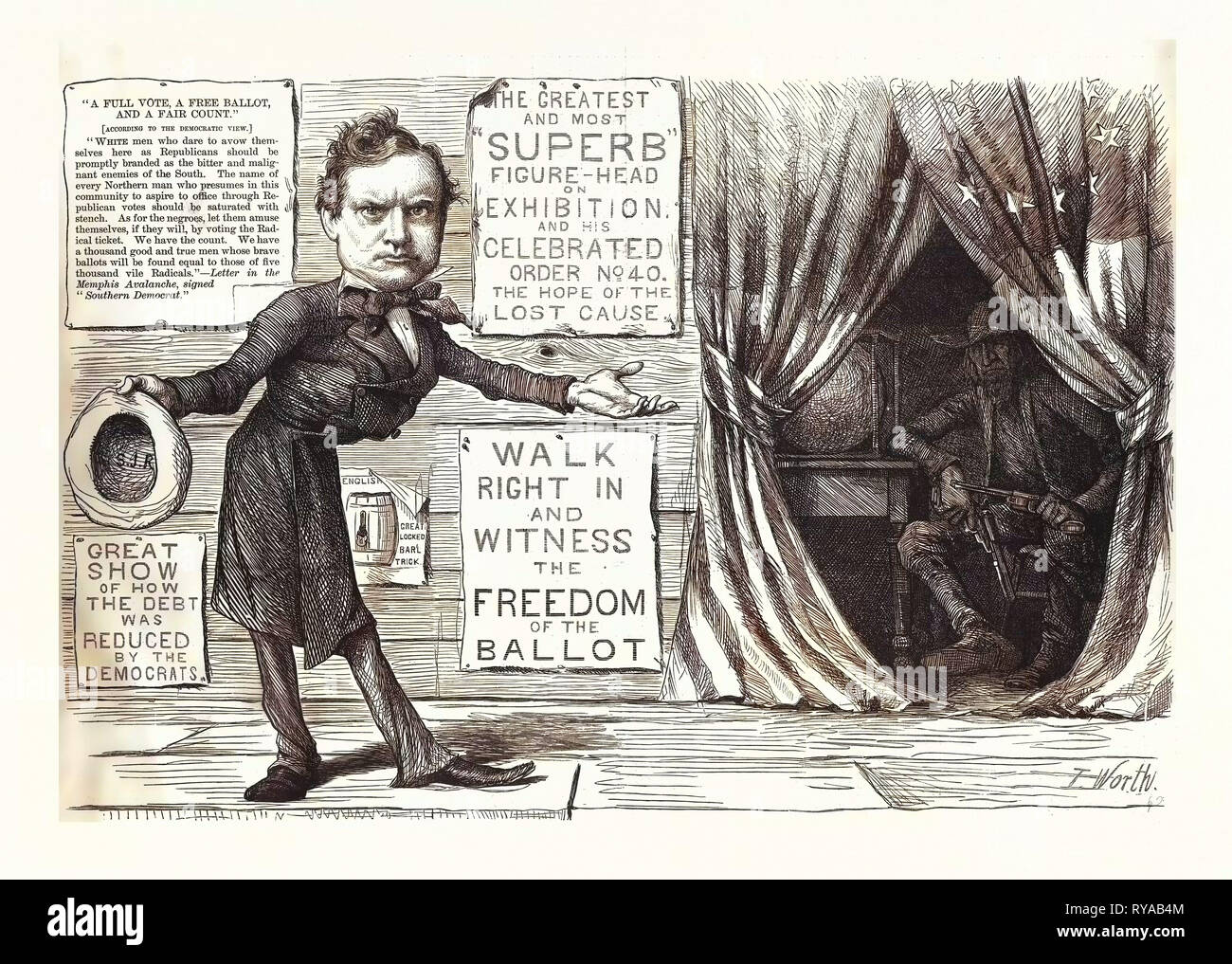 Great Democratic Moral Show, Engraving 1880, US, USA, Politics, Political, Politic, Campaign, Patriotic - Stock Image