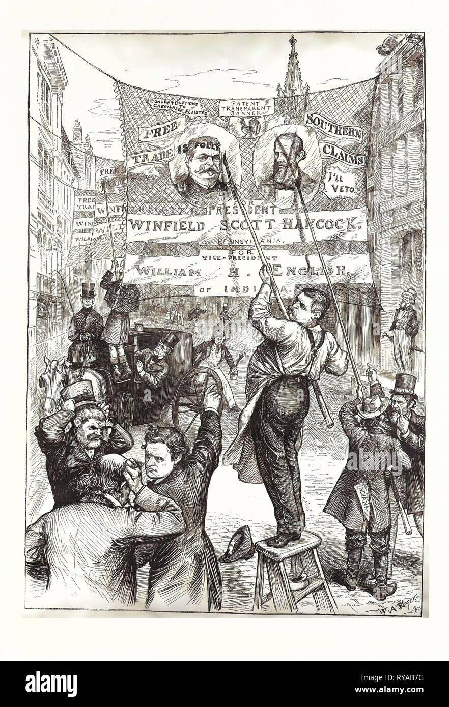 Campaign of 'Changes.' , Engraving 1880, US, USA, America, Politics, Political, Politic, Campaign, Patriotic - Stock Image