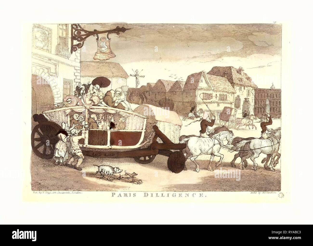 Thomas Rowlandson (British, 1756  1827 ), Paris Diligence, Probably 1810, Hand Colored Etching - Stock Image