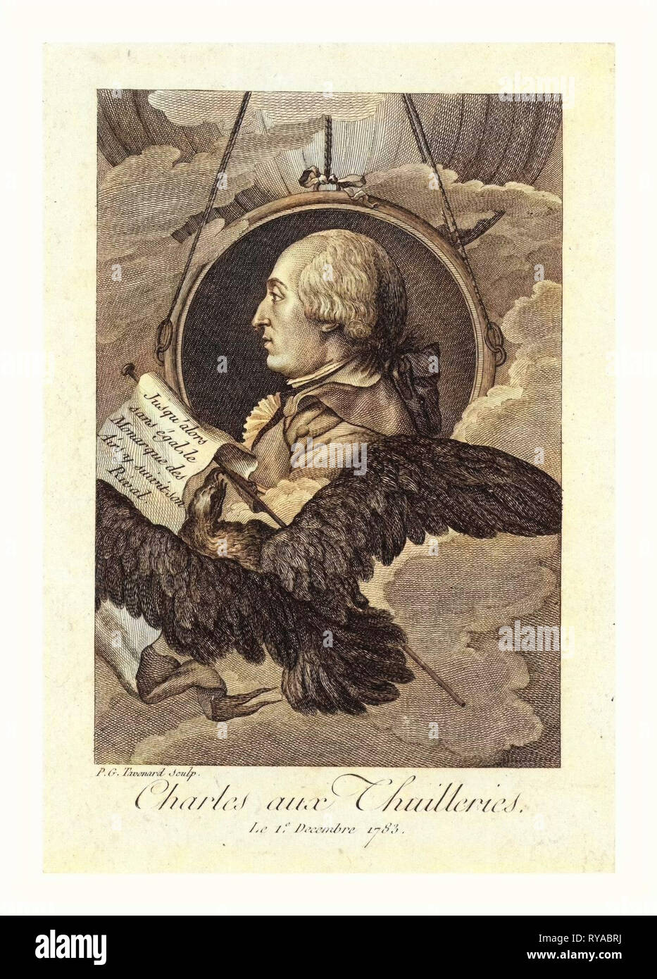 Head-and-Shoulders Profile Portrait of French Balloonist J.A.C. Charles, Who Made the First Flight in a Hydrogen Balloon, Dec. 1, 1783. Includes Banner with Caption 'Jusq'Alors San Égal, Le Monarque Des Airs, Y Suivit Son Rival' and Large Bird in Foreground, with Balloon in Background - Stock Image