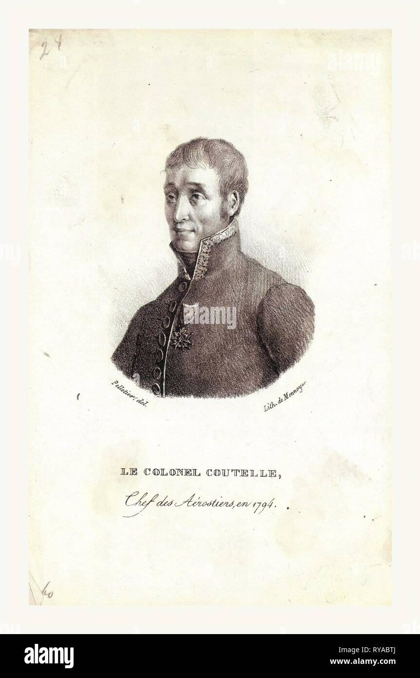 Head-and-Shoulders Portrait of Jean Marie Joseph Coutelle, Commander of the First Military Balloon Observation Unit in 1794 - Stock Image