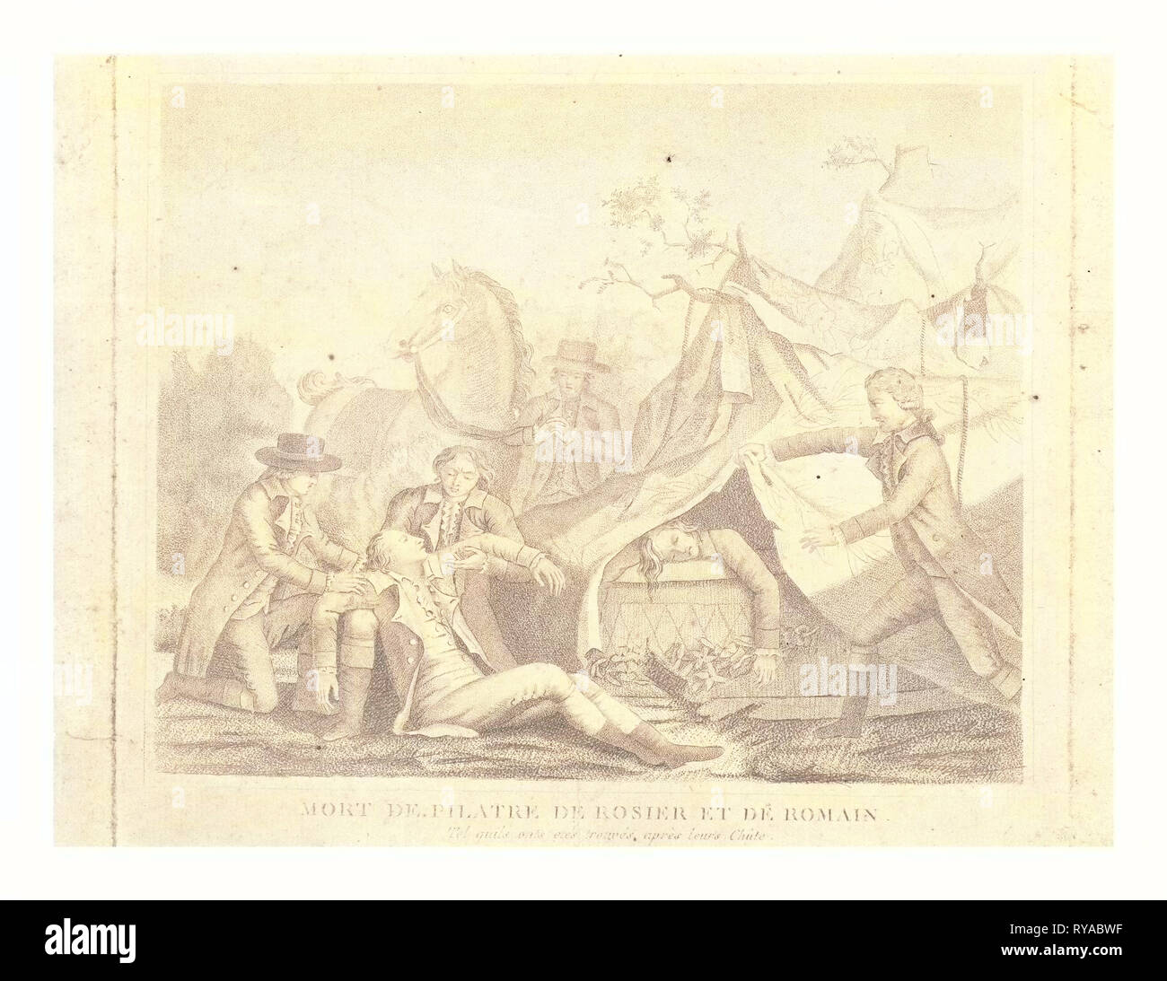 Print Shows the Death of Balloonists Jean-François Pilatre De Rozier and Jules Romain When Their Royal Balloon Crashed Near Boulogne, France, June 15, 1785, in What is Considered the First Aerial Disaster - Stock Image